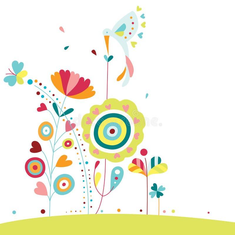 Flores e colibri ilustração royalty free