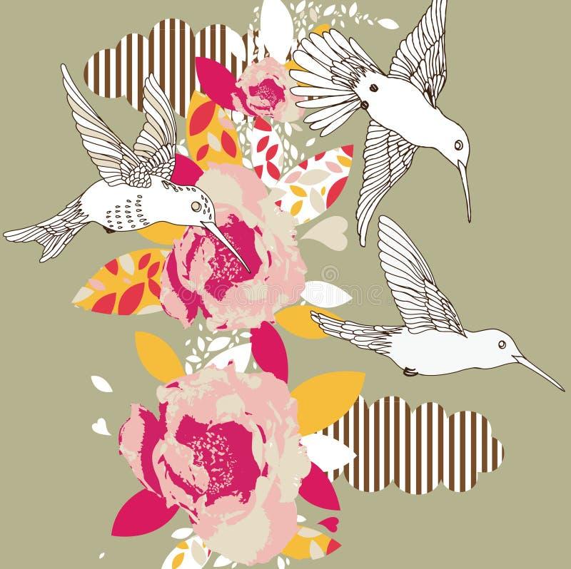 Flores e colibris ilustração royalty free