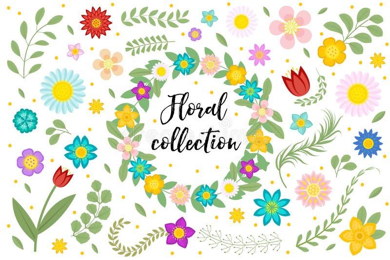 Flores e folhas ajustadas Coleção floral isolada no fundo branco Mola, elementos do projeto do verão para o convite ilustração royalty free