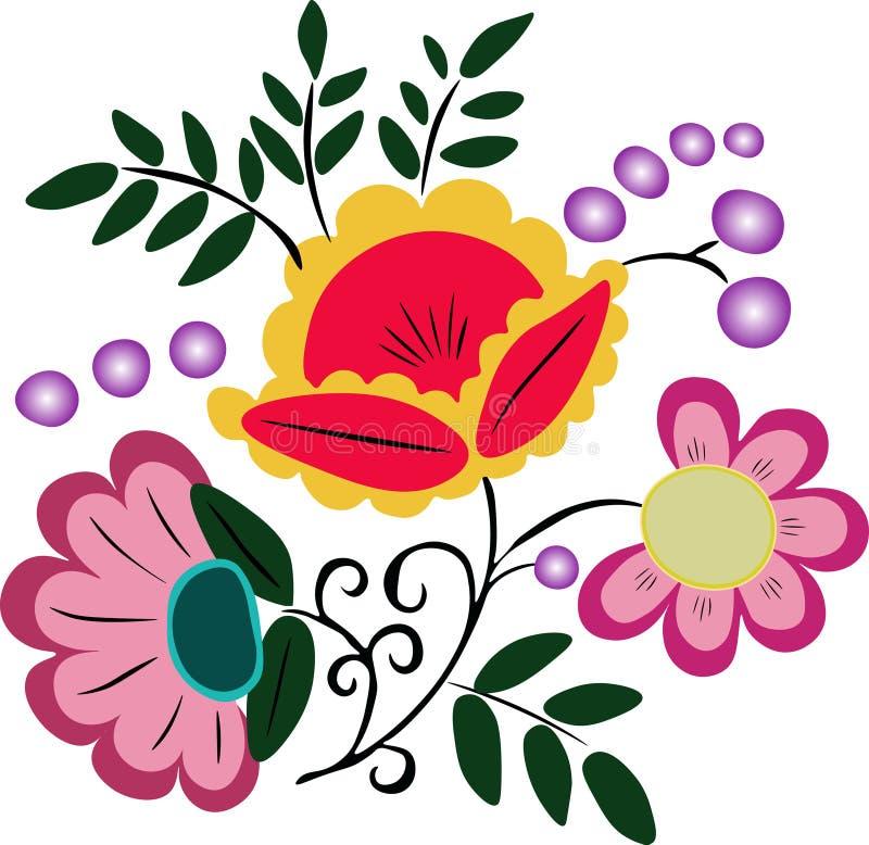 Flores e folhas cor-de-rosa do verde ilustração royalty free