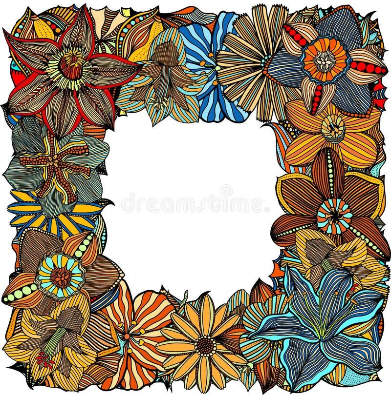 Flores e folhas da garatuja ilustração stock