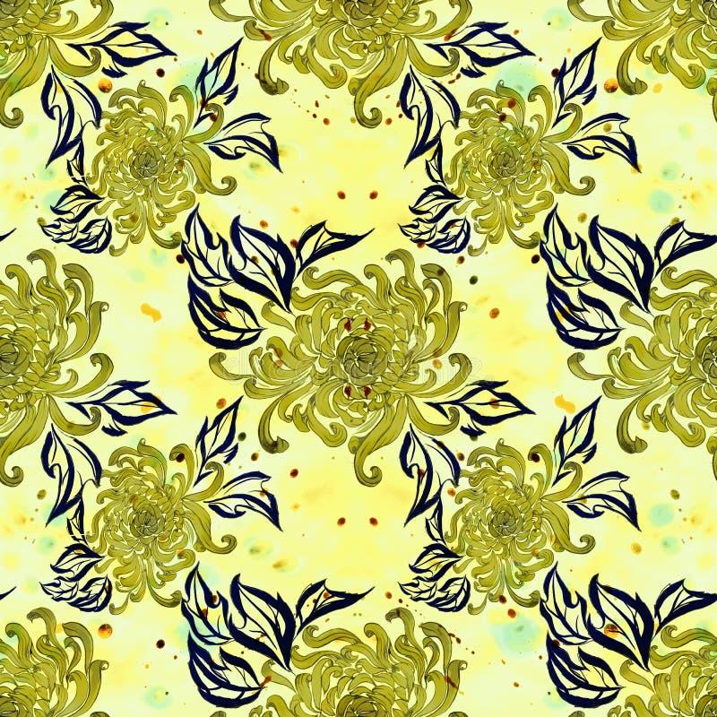 Flores e folhas do crisântemo Flores do outono watercolor Teste padrão sem emenda Use materiais impressos, sinais, artigos, Web s ilustração do vetor