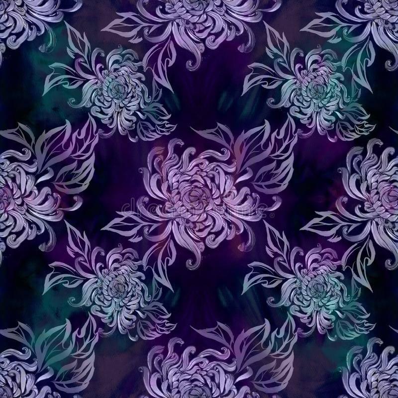 Flores e folhas do crisântemo Flores do outono watercolor Teste padrão sem emenda Use materiais impressos, sinais, artigos, Web s ilustração stock