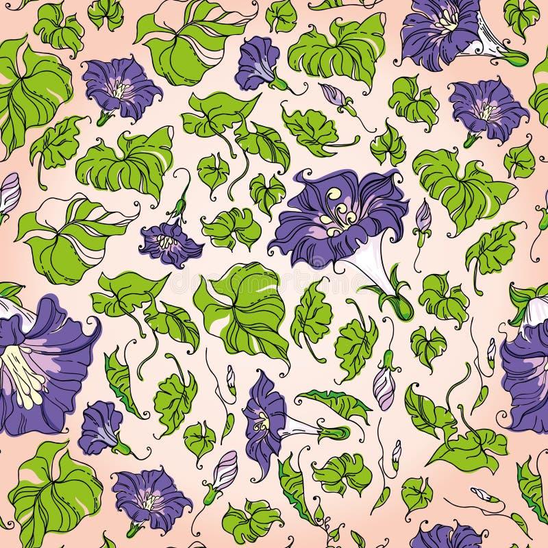 Flores e folhas sem emenda ilustração royalty free