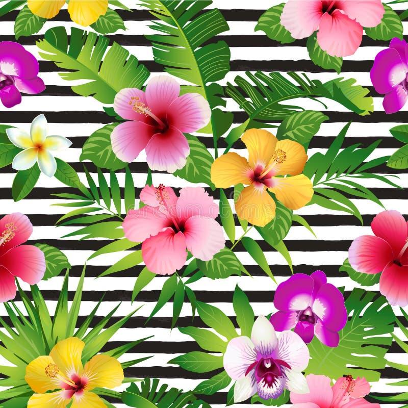Flores e folhas tropicais em fundo listrado seamless Vetor ilustração royalty free