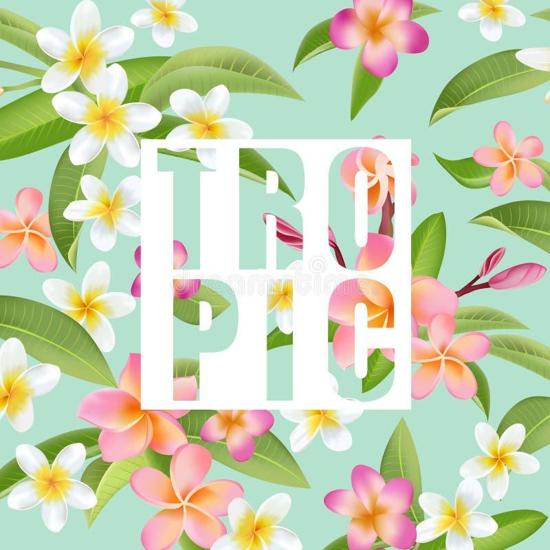 Flores e folhas tropicais Fundo exótico ilustração do vetor