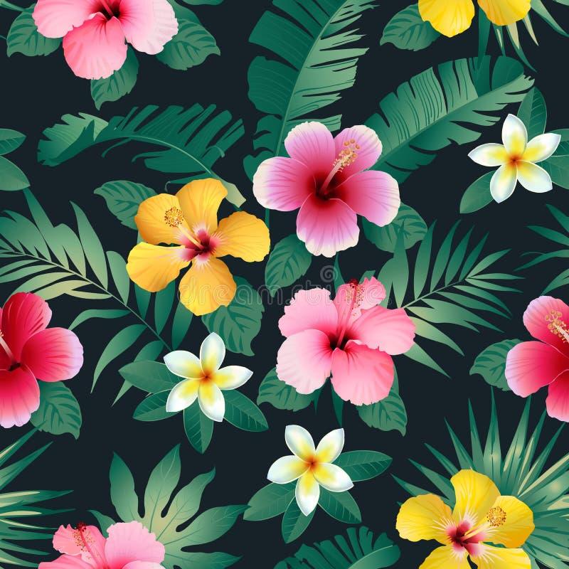 Flores e folhas tropicais no fundo escuro seamless Vetor ilustração royalty free