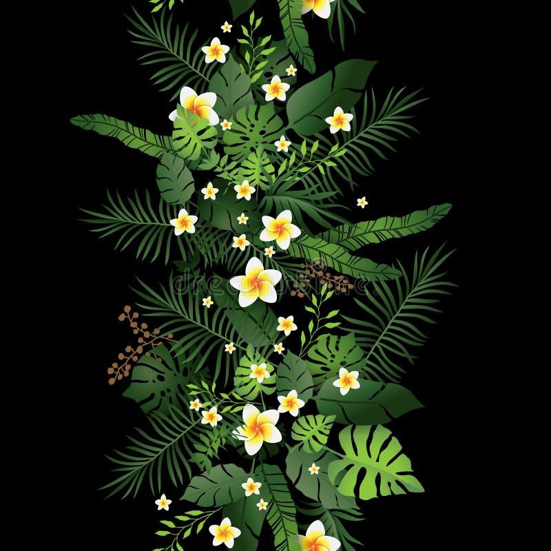 Flores e folhas tropicais pretas ilustração stock