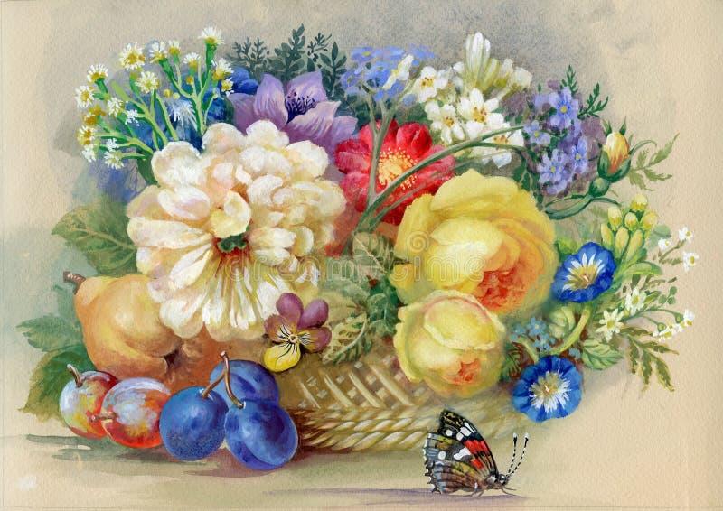 Flores e fruta ilustração royalty free