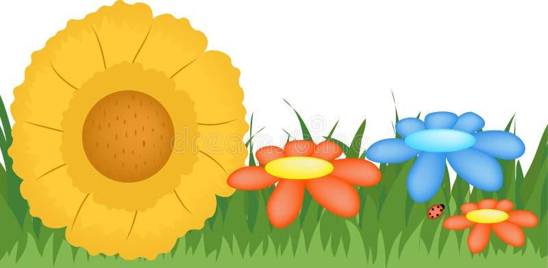 Flores e grama ilustração stock