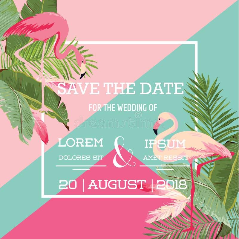 Flores e invitación de boda tropicales del verano del flamenco, floral exótico ilustración del vector