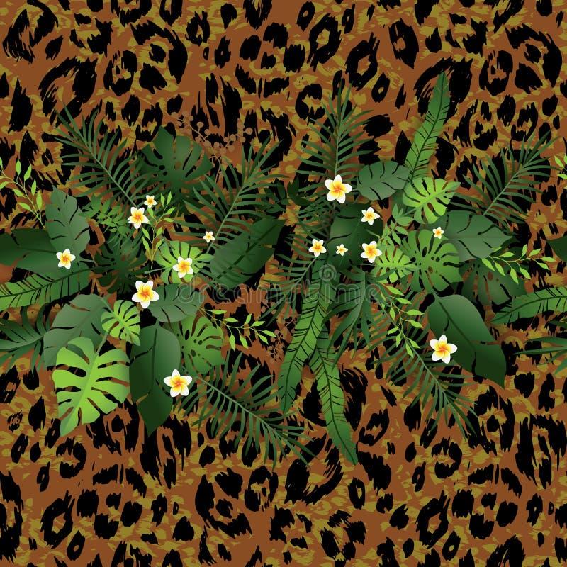 Flores e leopardo tropicais ilustração royalty free