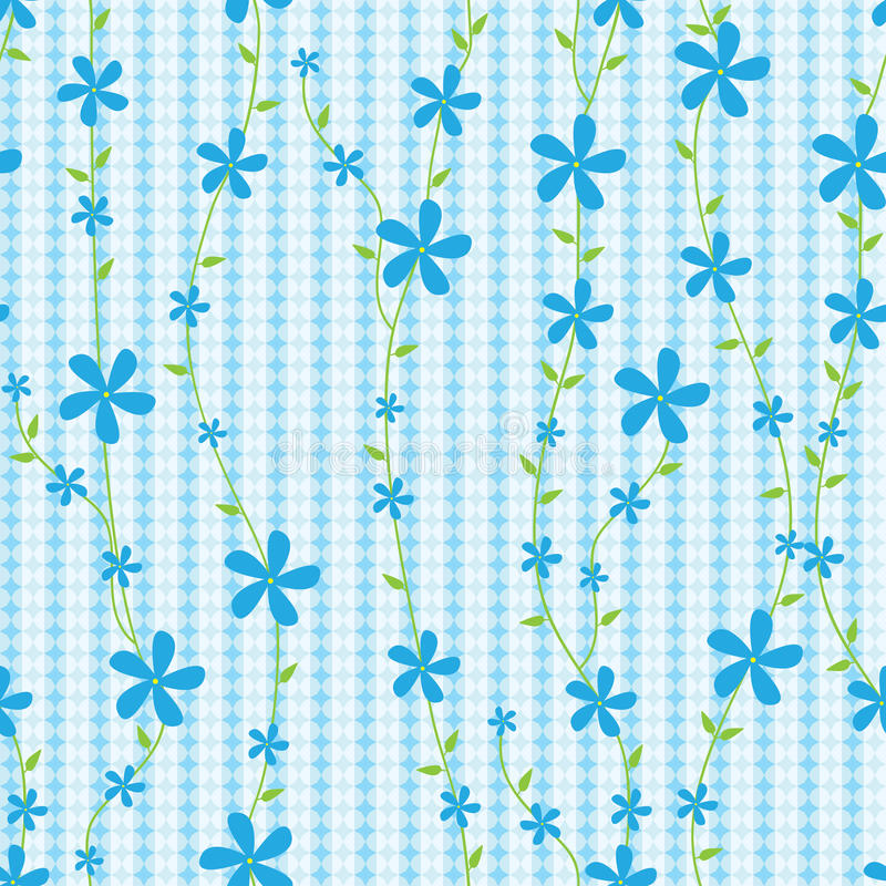 Flores e linhas azuis Pattern_eps sem emenda ilustração stock