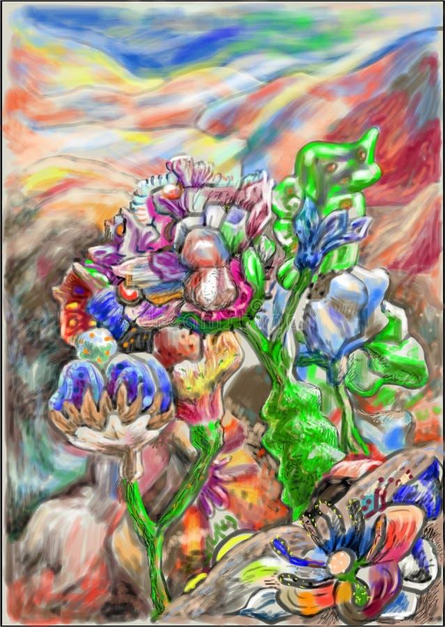 Flores e montanhas ilustração do vetor