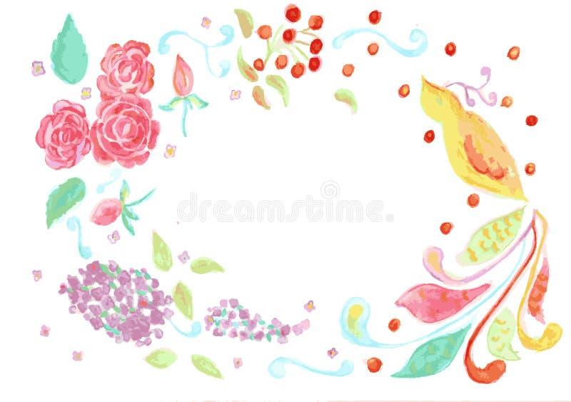 Flores e pássaro ilustração royalty free