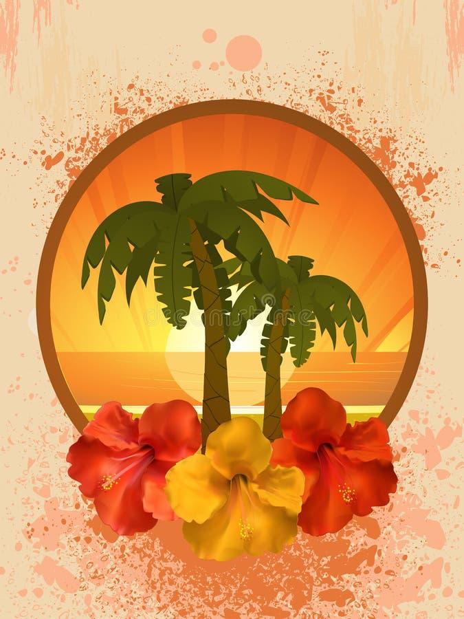Flores e palmeiras do hibiscus ilustração do vetor