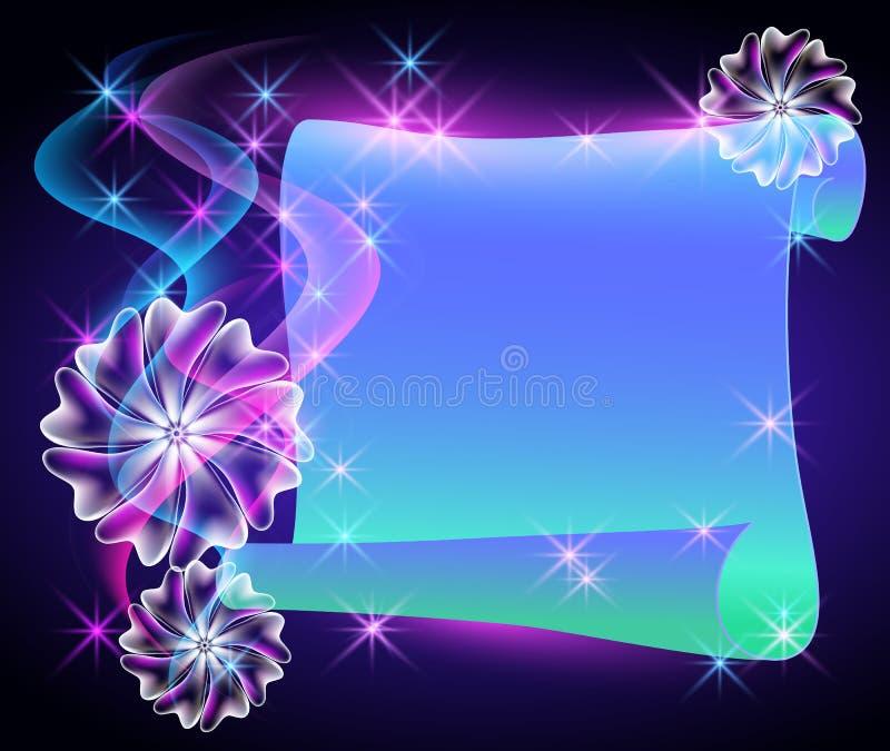 Flores e pergaminho mágicos ilustração royalty free