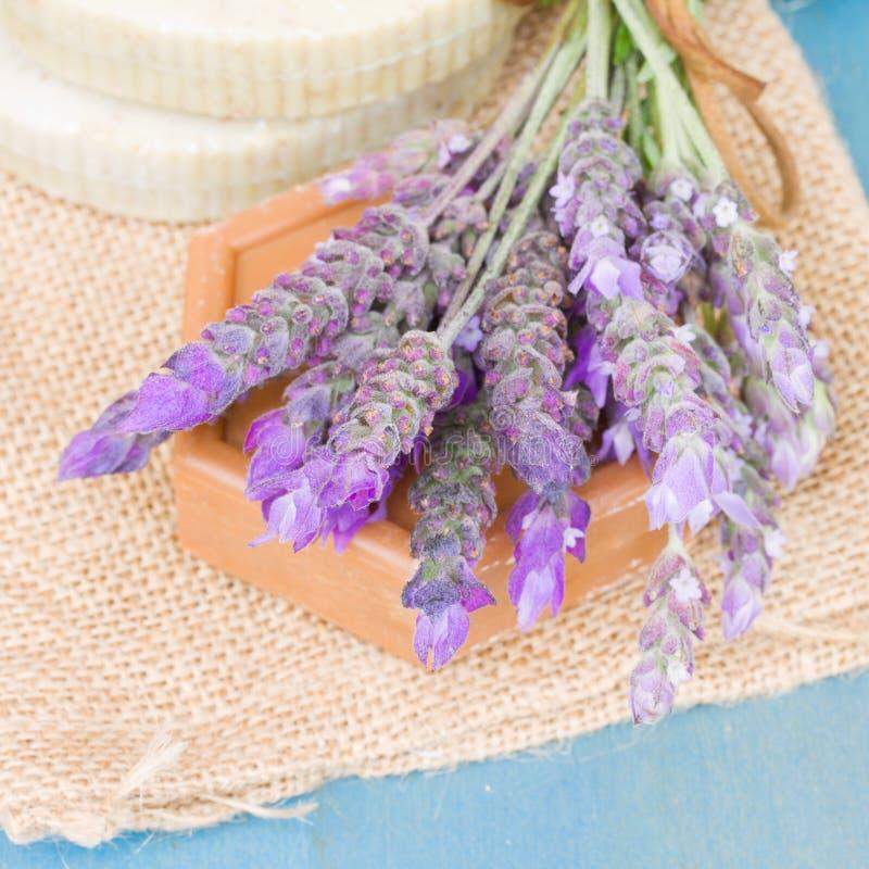 Flores e sabão da alfazema foto de stock royalty free