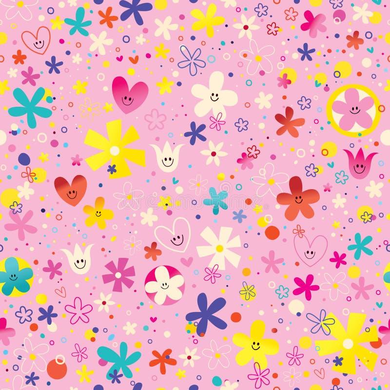 Flores e teste padrão sem emenda do amor da natureza dos corações ilustração stock