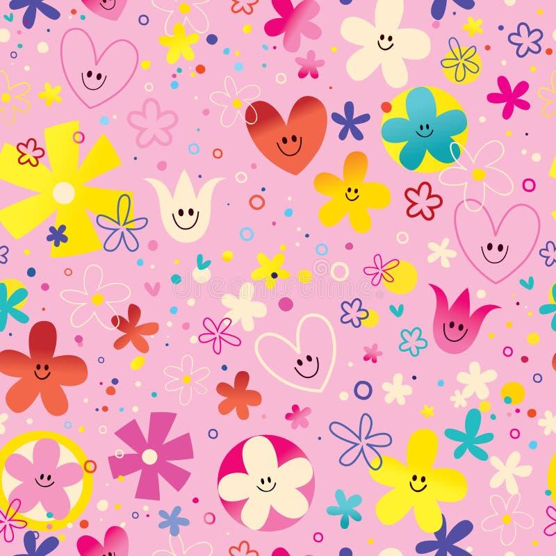 Flores e teste padrão sem emenda do amor dos corações ilustração stock