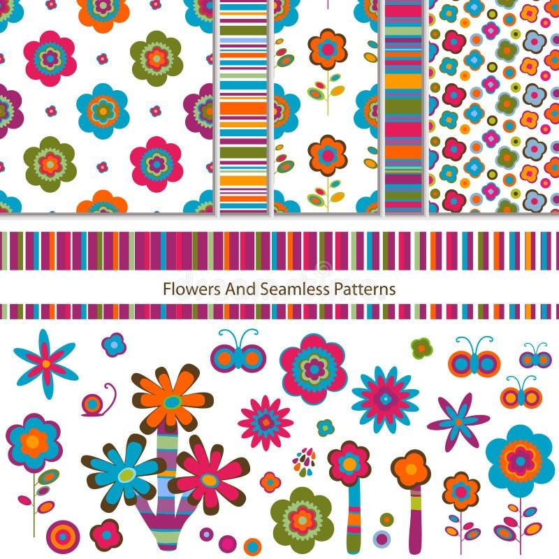 Flores e testes padrões ilustração stock