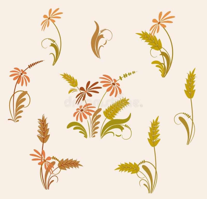 Flores e trigo ilustração stock