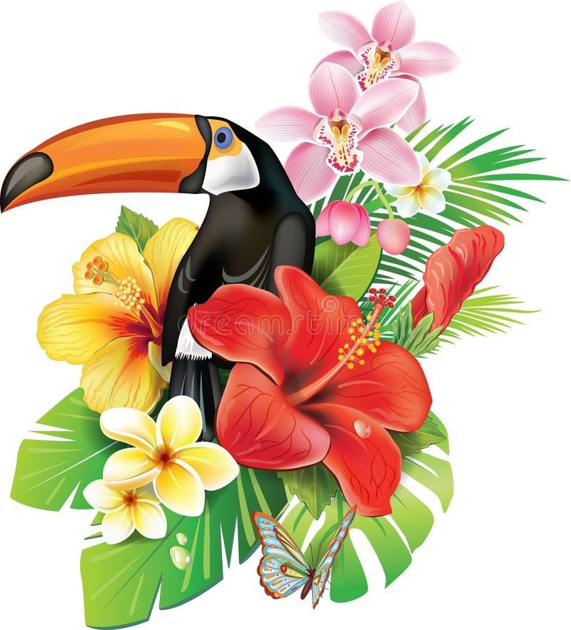 Flores e tucano tropicais ilustração royalty free