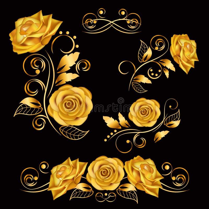 Flores Ejemplo del vector con las rosas del oro Elementos decorativos, adornados, antiguos, de lujo, florales en fondo negro stock de ilustración