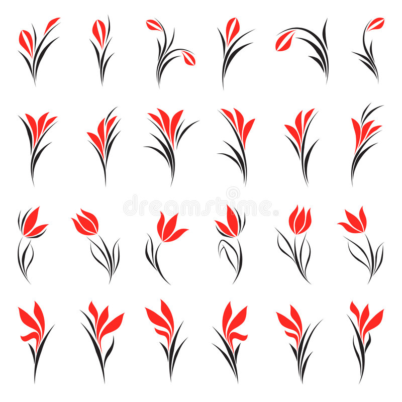 Flores. Elementos para o projeto. ilustração royalty free