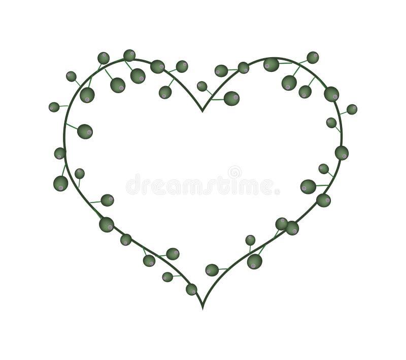 Flores em botão verdes em uma forma do coração ilustração do vetor