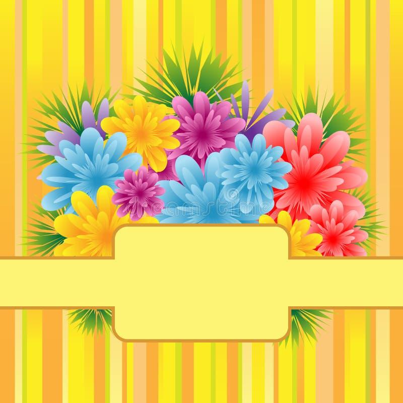 Flores em fundo listrado ilustração royalty free