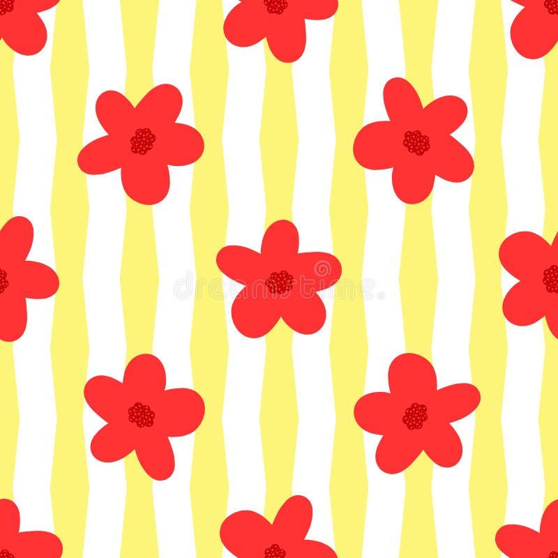 Flores em fundo listrado Teste padrão sem emenda floral simples ilustração royalty free