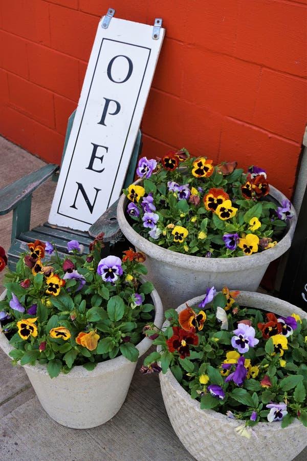Flores em pasta com sinal aberto imagem de stock royalty free