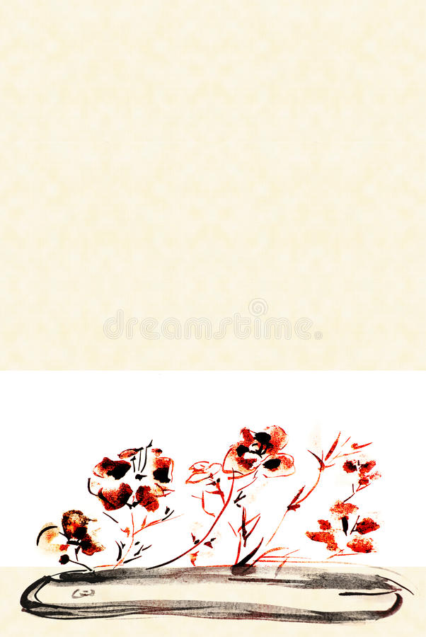 Download Flores Em Um Fundo Liso Do Vaso Ilustração Stock - Ilustração de floral, chinês: 10055394