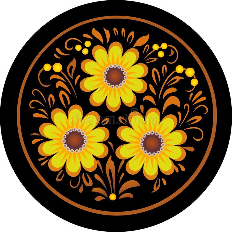 Flores em um quadro redondo. imagens de stock royalty free