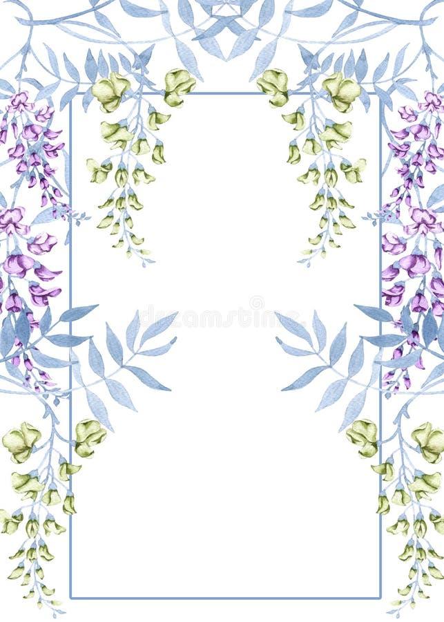 Flores em um ramo de uma glicínia Cartão de casamento do cumprimento ilustração do vetor