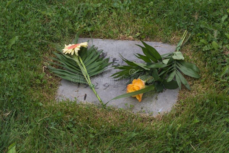 Flores em uma sepultura foto de stock royalty free