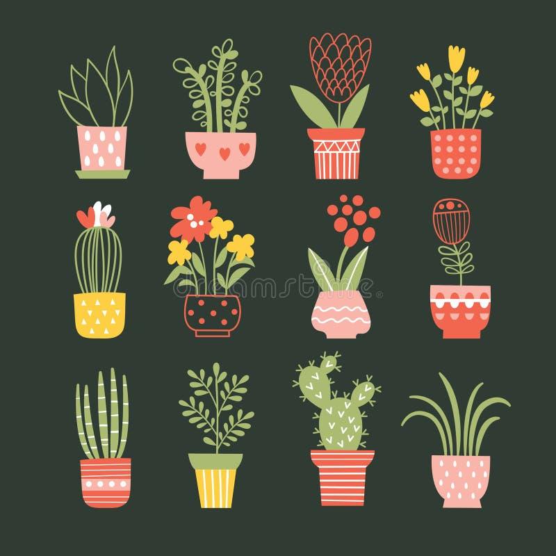 Flores em uns vasos ilustração do vetor