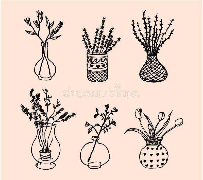 Flores em uns vasos ilustração royalty free