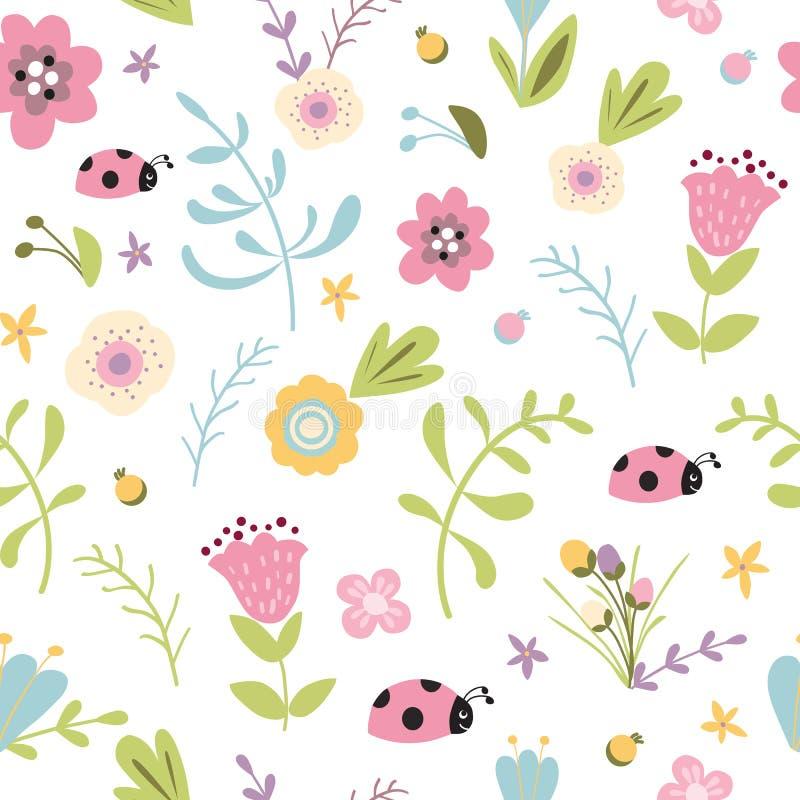 Flores en colores pastel del prado del fondo del jardín del modelo del bosque del verano de la primavera exhausta inconsútil flor libre illustration