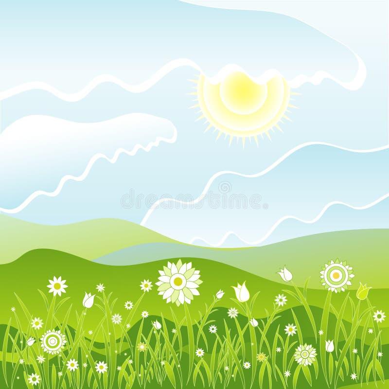Flores en el campo, vector stock de ilustración