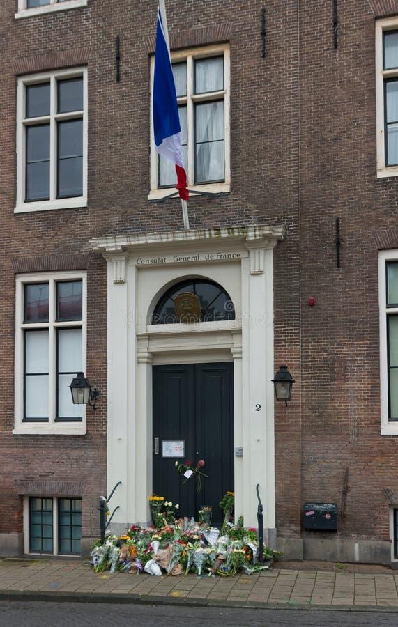Flores en el consulado francés fotografía de archivo libre de regalías