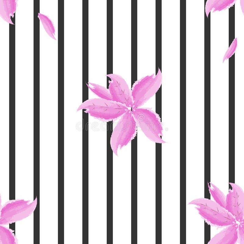 Flores en el fondo de rayas negras, modelo inconsútil, imitación de acuarelas, color global ilustración del vector