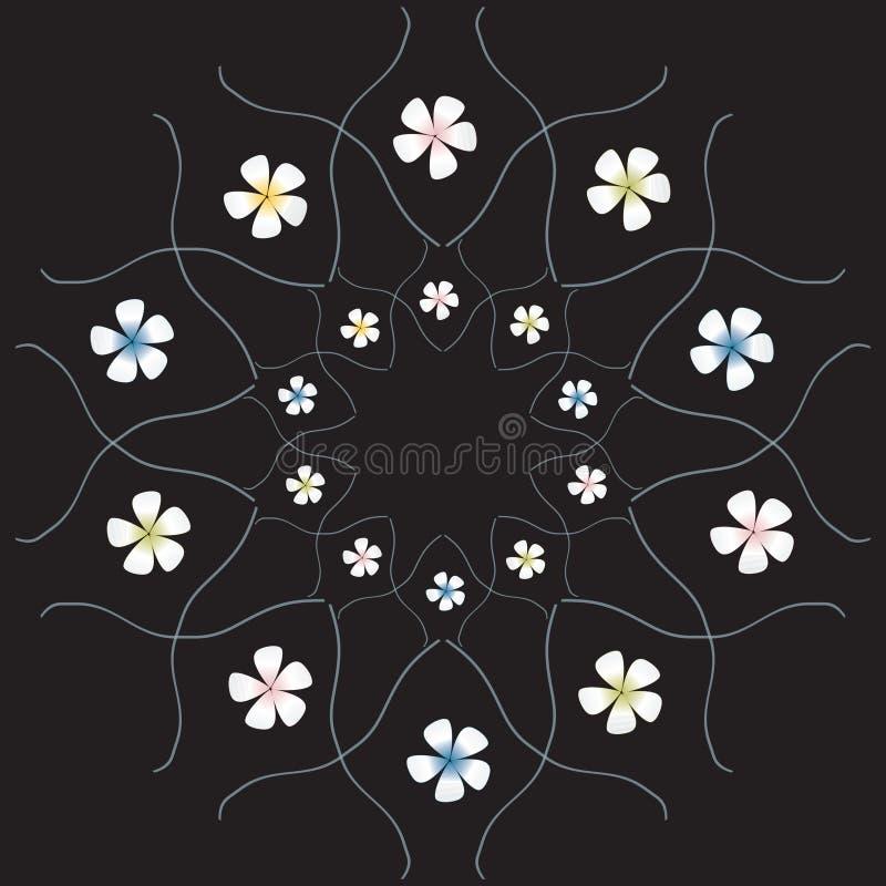 Flores en el fondo negro ilustración del vector