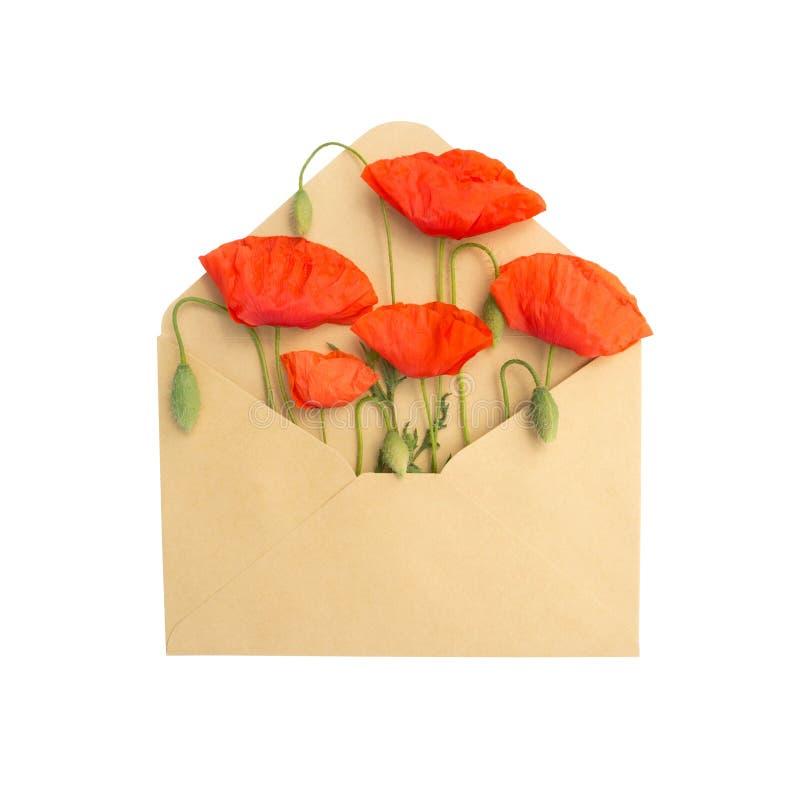 Flores en el sobre imagen de archivo libre de regalías