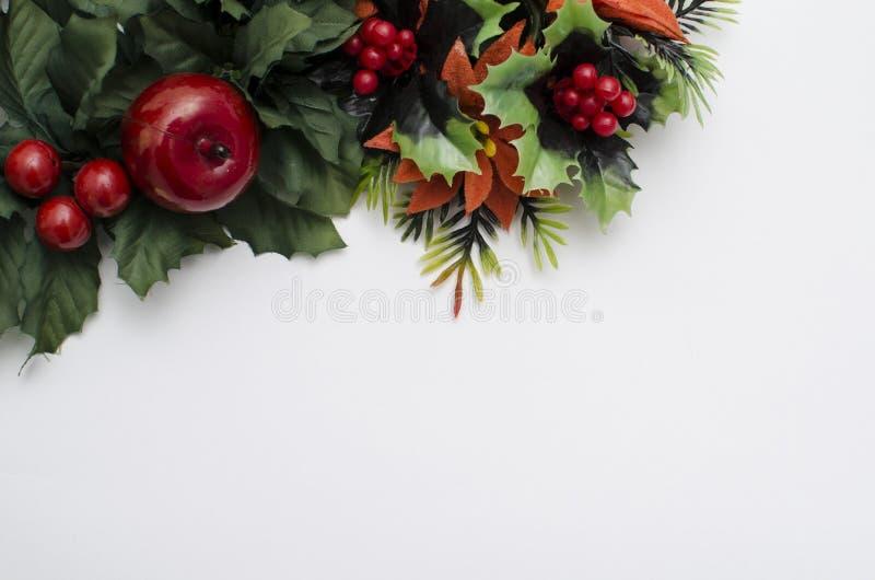 Flores en esquina superior en el fondo blanco imagen de archivo