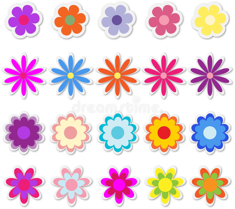 Flores en etiquetas engomadas libre illustration