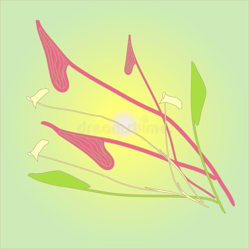 Flores en fondo de color verde amarillo imagenes de archivo