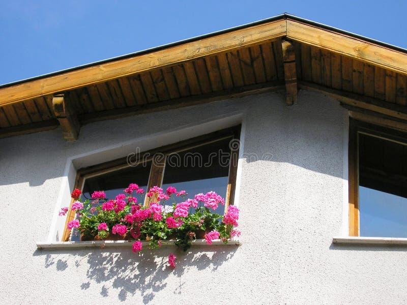 Flores en la ventana de una casa imágenes de archivo libres de regalías