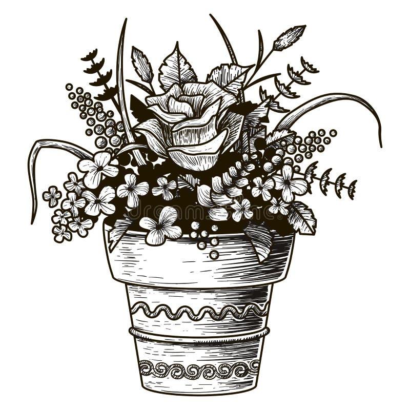 Flores en un crisol Ejemplo del bosquejo Vector aislado stock de ilustración